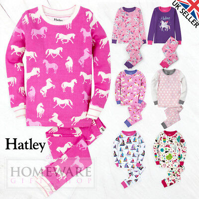 GIRLS HATLEY PYJAMAS - CHILDRENS 100% COTTON PJ'S SIZES 2y -12y LONG SLEEVE NEW