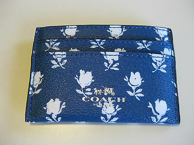 COACH Credit Card Holder / ID Case F63694 Blue Floral Print 63694 NWT