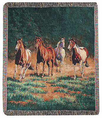 "Throws - ""wild Horses"" Tapestry Throw Blanket - Horse - Equestrian"