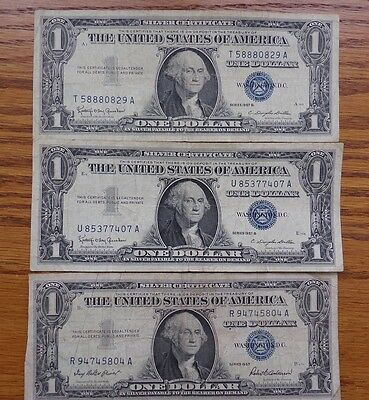 3 Us Silver Certificate $1 Blue Seal Bills Well Circulated 1957