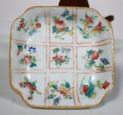 A Chinese Antique Famille Rose Square Porcelain Plate Tongzhi Mark and Period
