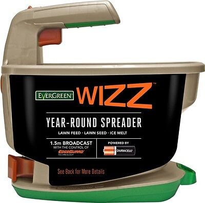 EverGreen Wizz Year-Round Garden Lawn Seed Fertiliser Spreader -Battery Operated