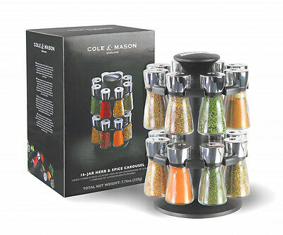 Cole & Mason Hudson Herb and Spice Rack Carousel - 16 Jar - Includes Spices