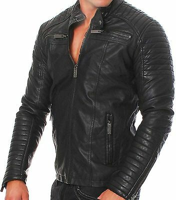 Mens Slim Fit Black Biker Real Leather Vintage Slim Fit Racer Motorcycle Jacket