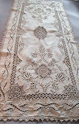 Antique French EMBROIDERY RICHELIEU CUTWORK RETICELLA LACE RUNNER Ivory color