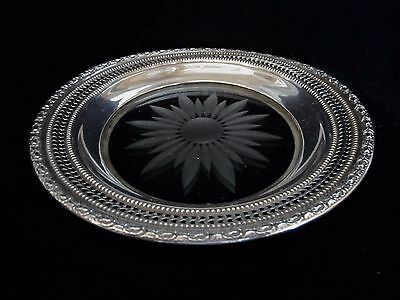 """Whiting Sterling Silver & Crystal Wine Bottle Coaster 1658 """"Talisman Rose"""""""