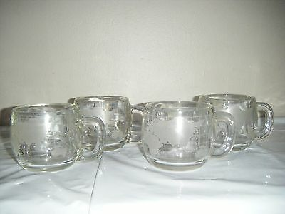 Vintage LOT of 4 clear WORLD GLOBE Coffee Serving Set NESTLE CUPS Hot Chocolate