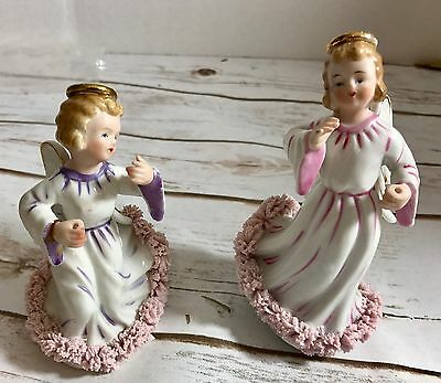 Set Of 2 Vintage Pink Purple Spaghetti  Angel Dancing Made In Japan Signed