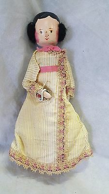 Antique Penny Wooden Doll Jointed Articulated Germany Wooden Old Dress FREE SHIP