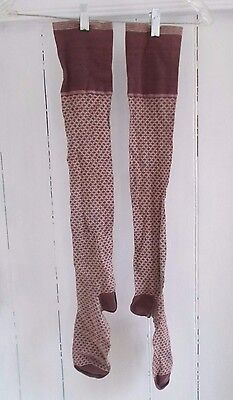 Antique 1920's Victorian Edwardian Flapper Downton Abbey Striped Stockings Socks