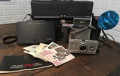 Vintage Polaroid Land Camera 240 with Case, Flash And Instructions