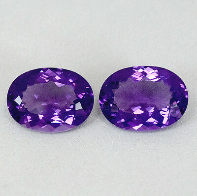CERTIFIED 24.28 Cts Beautiful Natural Purple Amethyst Pair 19x14mm Oval Facet