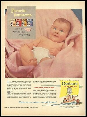 Gerber Baby Food Cereals National Baby Week Photo Vtg Life April 1953 AD