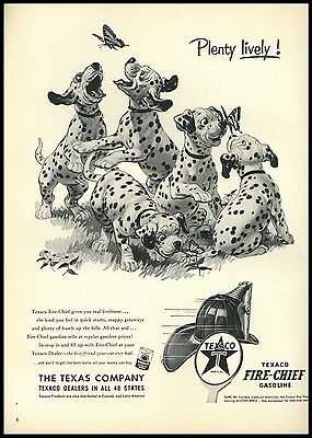 Dalmatian Puppies Chasing Butterflies Vtg Life April 1953 Texaco Fire Chief AD