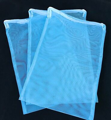 Aquarium ZIPPED Filter Media Net Bag fish tank zip up filter bags 17x26cm Blue