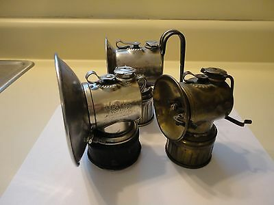 (3) Antique JUSTRITE Miners Mining Lamp Lamps