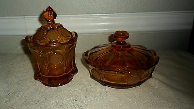 "Fostoria Amber Coin Glass 4"" Candy Dish / Sugar Bowl And 6 1/2"" Candy Box W/ Lid"