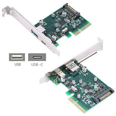PCI-E 4x Express to USB 3.1 Type C + Type A SATA 15 Pin Expansion Card Adapter