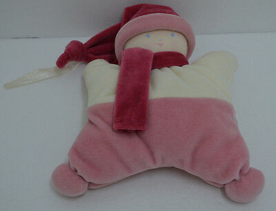 """Corolle Pink Baby Doll Rattle Plush Stuffed Lovey Security Hat & Scarf 8"""""""
