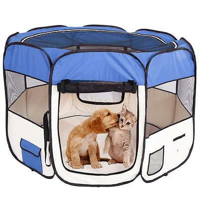 "57"" Blue Dog Pet Fence Puppy Soft Oxford Playpen Exercise Pen Folding Crate"