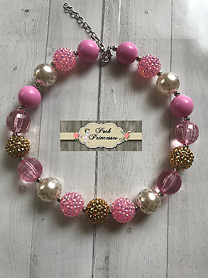 Baby, Toddler, Girls Chunky Bubblegum Necklace Pink & Gold