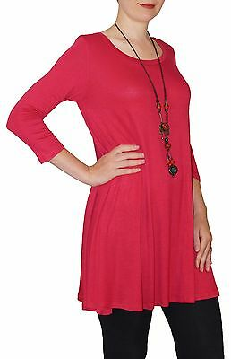 e5bee64d8d7 New 3/4 Sleeve Red Stretch Tunic Top Shirt Blouse Dress S M L Plus Size