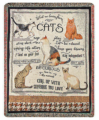 "Throws -  ""what We Learn From Cats"" Tapestry Throw Blanket - 50"" X 60"""
