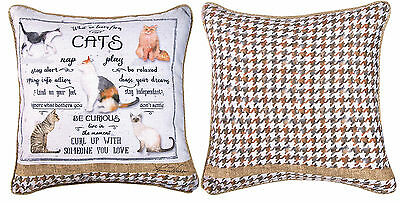 """Decorative Pillows - What We Learn From Cats Reversible Pillow - 18"""" Square"""