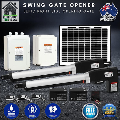 500KG Double Swing Gate Opener Auto Motor Solar Powered  2 Remotes New Automatic