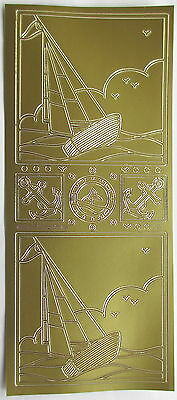 Sailing Boat Gold Peel Off Sticker Cardmaking Scrapbooking