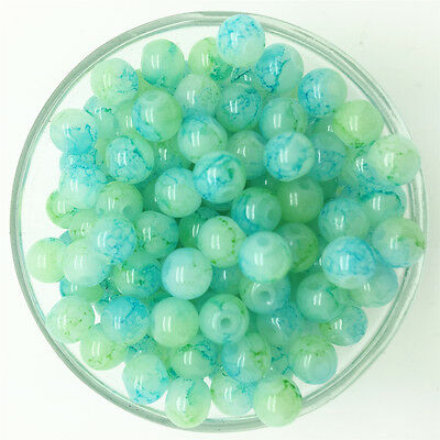 NEW 50PCS 6mm Glass Round Pearl Spacer Loose Beads Pattern Jewelry Making 39