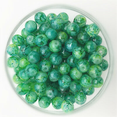 NEW 50PCS 6mm Glass Round Pearl Spacer Loose Beads Pattern Jewelry Making 30