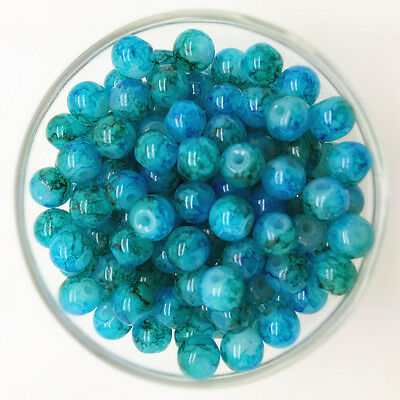NEW 30PCS 8mm Glass Round Pearl Spacer Loose Beads Pattern Jewelry Making 16