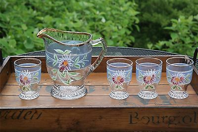 Antique Vintage Floral Pressed Glass Hand Painted PITCHER and 4 tumblers