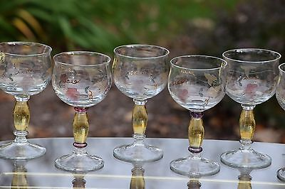 Vintage Etched Hand Painted Gold Wine Glasses, Set of 8