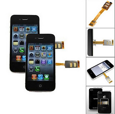 For Apple iPhone 4/4S 5/5S Double Dual SIM Card  Two Network SIM CardsAdapter