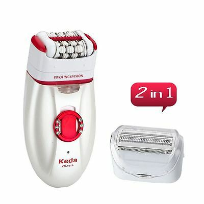 2 in1 Electric Cordless Web Dry Epilator Lady Shaver Washable Kit Rechargeable