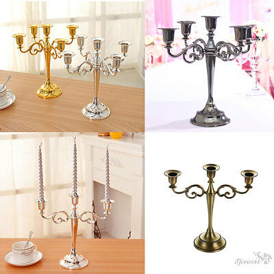 3/5 Arms Classic Candle Stand Metal Candelabra Holder Stick Home Wedding Decor