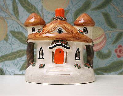 Beautiful Antique Staffordshire Pottery Floral Thatched Cottage Pastille Burner