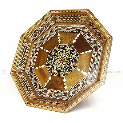 Handmade Syrian Inlaid Mosaic Wooden Serving Tray Home Decoration Gift 24x24x3cm