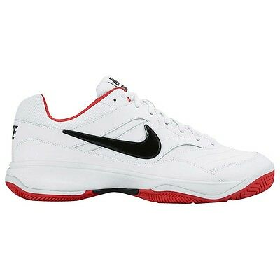 Nike COURT LITE MEN'S TENNIS SHOES, WHITE/BLACK/RED - Size US 8, 10, 11 Or 11.5
