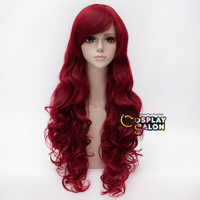 Batman Poison Ivy 32'' Wine Red Long Curly Cosplay Wig Heat Resistant Halloween
