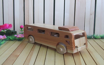 bus model car child toy unique wooden child safe friendly home decor real wheels