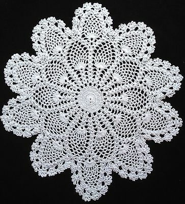 "handmade white 14"" 36cm vintage crochet lace doilie doily doiley round"