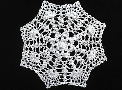 "handmade white 7"" 18cm vintage crochet lace doilie doily doiley round"