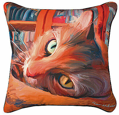 """Decorative Pillows  - """"cat In The Library"""" Throw Pillow - 18"""" Square"""