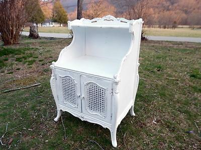 Lg 1920's Shabby Cottage Chic Painted Distressed French Nightstand Rattan Doors