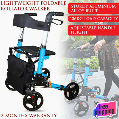 NEW blue Foldable Lightweight Rollator Walker Walking Frame Age Care Aid Mobile