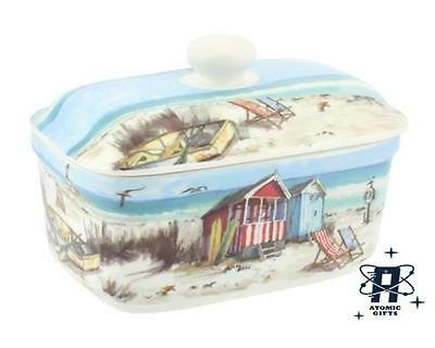 Vintage Retro Styled Seaside Sandy Beach Butter Dish New In Box