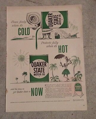 Vintage Quaker State Motor Oil Paper Advertisement